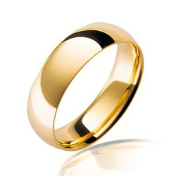 1 Pcs Highly Polished Gold plated Stainless steel Wedding/engagement Ring - Gold