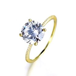 1 Piece Shiny Never Fade Promise/Wedding & Engagement Ring - Gold