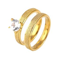 2 Pcs 3mm width Anti-Scratch Surface Durable Stainless steel Wedding And Engagement Ring Set-GOLD