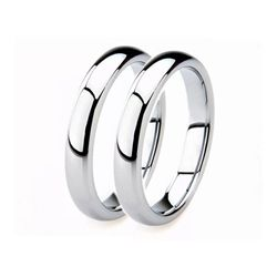 2 Pcs White Gold Plated Shiny Never Fade Anti-Scratch Pure Tungsten Wedding Ring-Silver