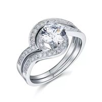 2 Set Durable Original Sterling Silver with Wedding & Engagement Ring - Silver