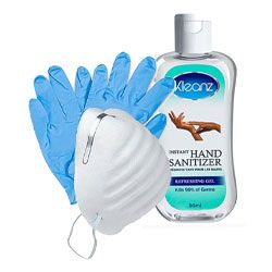 Coronavirus - Your Safety Kit - Small: Kleanz Instant Hand Sanitizer - 50ml + 1 Pair of Hand Gloves + 1 Disposable Face Mask