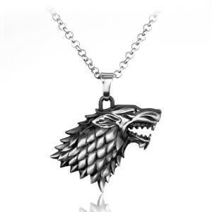 Game of Thrones Wolf Head Stark Pendant Necklace - Silver